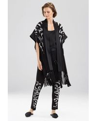 Josie Natori Eden Embroidered Fringe Wrap - Black