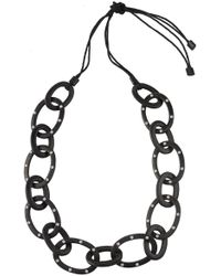 Natori - Josie Acacia Wood With Silver Oval Links Necklace - Lyst