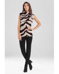 Natori Le Tigre-angkor Funnel Sweater Top - Black