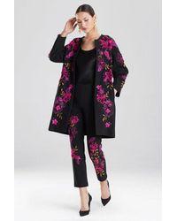 Natori Embroidered Knit Crepe Jacket - Black