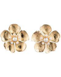 Natori - Josie Gold Brass Peony Earrings With Pearl - Lyst
