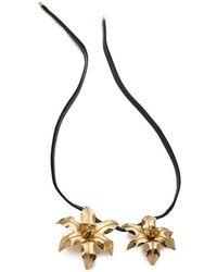 Natori Brass Double Floral Necklace - Black