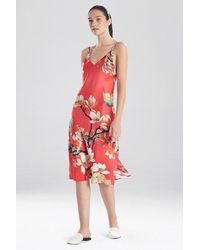 N Natori Enchanted Lotus Satin Gown - Red
