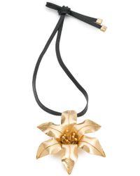 Natori - Josie Brass Floral Necklace - Lyst