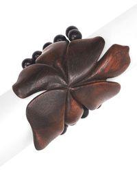 Natori Acacia Wood Floral Bracelet - Natural