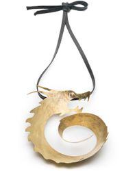 Natori - Josie Hammered Brass Swirl Dragon Necklace - Lyst