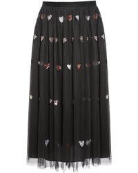 c30d2905a3 Alice + Olivia Heart Patch Tulle Skirt in Black - Lyst