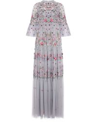 Needle & Thread - Dreamers Floral-embroidered Tulle Gown - Lyst