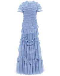 Needle & Thread Wild Rose Ruffle Gown - Blue