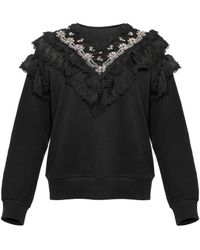 Needle & Thread Wren Embellished Ruffle Sweatshirt - Black