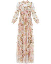 Needle & Thread Harlequin Rose Ruffle Gown - White