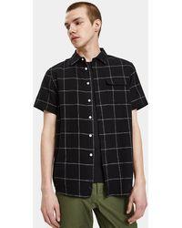 Saturdays NYC - Laszlo Ss Boucle Window Check Shirt In Black - Lyst