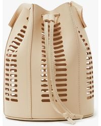 Modern Weaving - Mini Oval Die Cut Bucket Bag In Neutral - Lyst