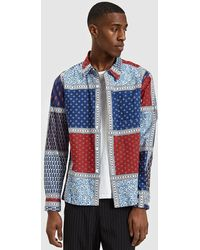 Stussy - Paisley Patchwork Ls Shirt In Blue - Lyst