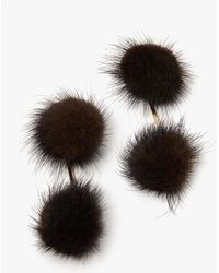 Tuleste | Mink Double Pom Pom Earrings In Brown | Lyst