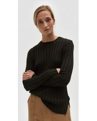 Achro Long Sleeve Ribbed Pullover In Dark Green