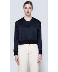 Frankie - Scuba Cropped Pullover In Navy - Lyst