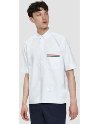 Thom Browne - Short Sleeve Pullover Shirt In White - Lyst