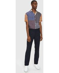 Pierre Louis Mascia - Patchwork Short Sleeve Shirt In Red/navy - Lyst