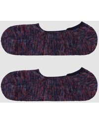 Anonymous Ism Mix Intact Loafer Sock In Navy/red - Blue