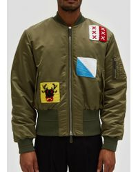 JW Anderson - Satin Bomber Jacket W/ Crochet Patches - Lyst