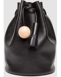 Building Block Leather Bucket Bag  - Black