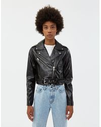 VEDA Vinyl Baby Jane Moto Jacket - Black