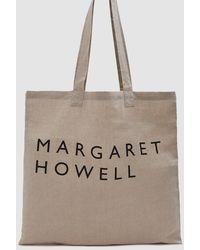 Margaret Howell - Linen Logo Bag In Khaki - Lyst