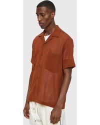 Cmmn Swdn - Dexter Open Collar Shirt In Burnt Amber - Lyst