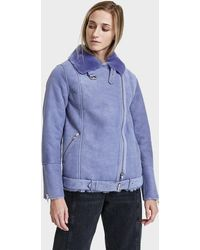 Just Female | Chin Shearling Jacket Lavender | Lyst