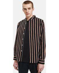 Saturdays NYC - Crosby Satin Stripe Shirt In Black - Lyst