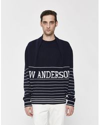 JW Anderson Men's Logo Knitted Sweater - Blue