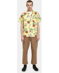 Obey - Kane Woven Ss Shirt In Yellow Multi - Lyst