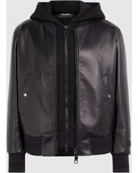 Neil Barrett Travel Bonded Nappa Leather Zip-up Hoodie Bomber - Black