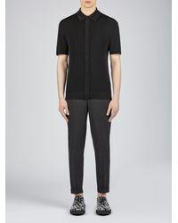 Neil Barrett Minimalist Techno Knit Polo Shirt - Black