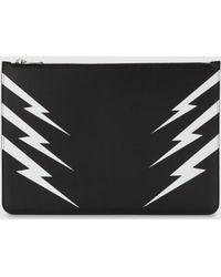 Neil Barrett Tiger Bolt Leather Large Zip-up Pouch - Black