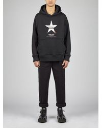 "Neil Barrett Hand-painted ""sport Star"" Print French Terry Easy Dropped Shoulder Hoodie - Black"