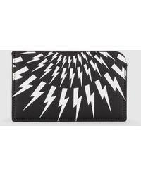 Neil Barrett Black Thunderbolt Print Card Holder