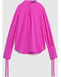 Neil Barrett Tuxedo Crepe De Chine Loose Shirt With Piercing - Pink