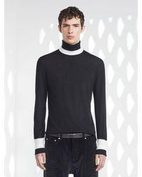 Neil Barrett Minimalist Colour Band Fine Wool, Silk & Cashmere Turtle Neck - Black