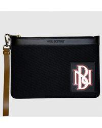 Neil Barrett Medium Monogram Varsity Zip Pouch - Black
