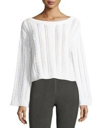 Alice + Olivia - Bell-sleeve Cable-knit Wool-blend Sweater - Lyst