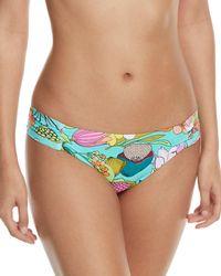 Trina Turk - Key West Botanical-print Shirred-side Hipster Swim Bikini Bottoms - Lyst
