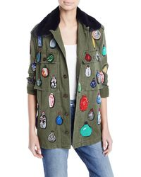 Libertine - Button-front Cotton Jacket W/ Beaded Ornament Detail - Lyst