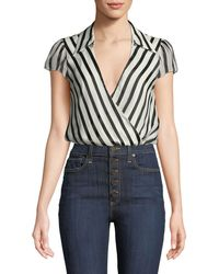 Alice + Olivia - Dayer Collared Short-sleeve Wrap Top - Lyst