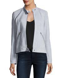 Neiman Marcus - Suede Moto Jacket W/ Quilted Shoulders - Lyst