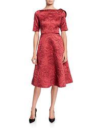 Teri Jon High-neck Elbow-sleeve Jacquard A-line Dress - Red
