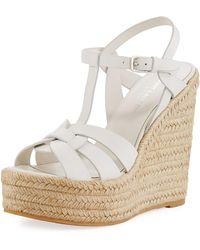Saint Laurent - Espadrille T-strap Wedge Sandals - Lyst