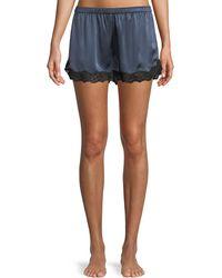 Neiman Marcus - Lace-trim Silk Lounge Shorts - Lyst