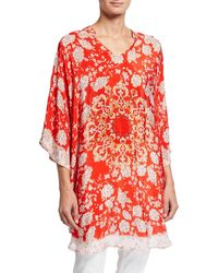 Tolani Belle Floral Print V-neck Silk Tunic - Red